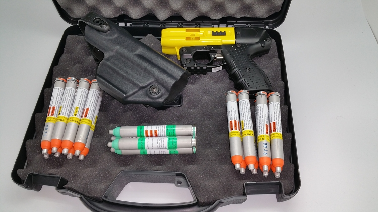 JPX4 Shot LEO Pepper Gun Yellow Defense Bundle With Laser