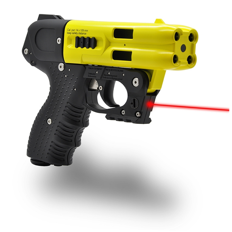 JPX4 Shot LE Defender Pepper Gun with laser Yellow Barrel