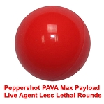 Peppershot™ PAVA Max Payload Live Agent Less Lethal Rounds (10X Hot)  Jar of 100