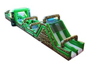 85 FOOT CAMO INFLATABLE OBSTACLE COURSE