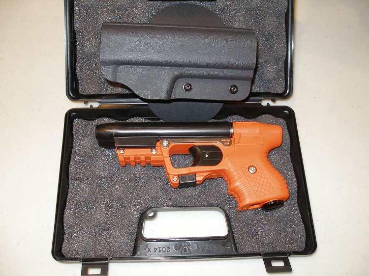 FIRESTORM JPX 2 LE Orange Frame with Laser and RH Paddle Holster