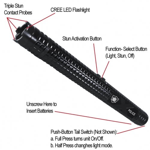 Streetwise Police Force 12,000,000 Tactical Stun Baton Flashlight